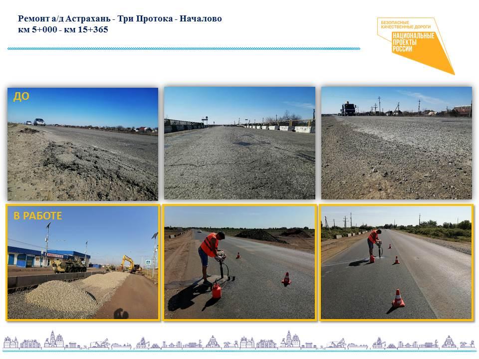 ремонт автодороги Астрахань - Три Протока - Началово